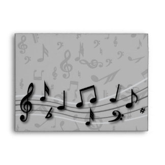 Personalized black and gray musical notes envelope