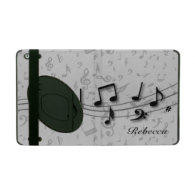 Personalized black and gray musical notes iPad case