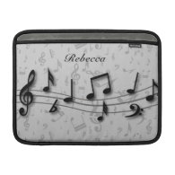 Personalized black and gray musical notes sleeve for MacBook air