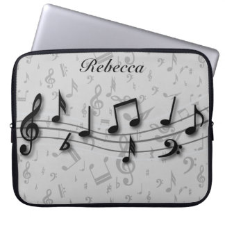 Personalized Black and Gray Musical Notes Computer Sleeve
