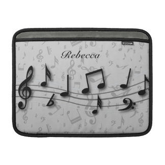 Personalized black and gray musical notes MacBook air sleeve