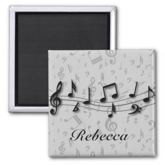 Personalized black and gray musical notes fridge magnet