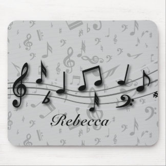 Personalized black and gray musical notes mouse pad