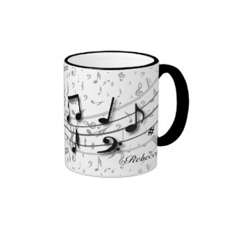 Personalized black and gray musical notes coffee mug