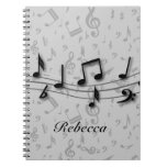 Personalized black and gray musical notes spiral note book