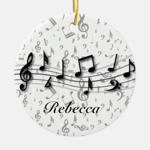 Personalized black and gray musical notes christmas ornaments