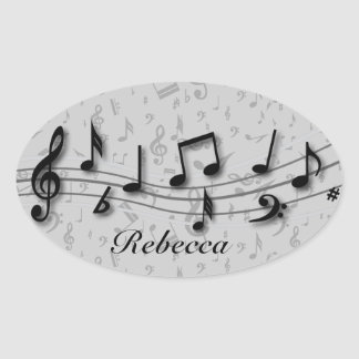Personalized Black and Gray Musical Notes Oval Sticker