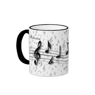 Personalized Black and Gray Musical Notes Ringer Mug