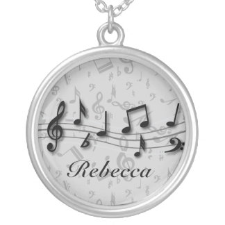 Personalized black and gray musical notes round pendant necklace
