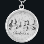 """Personalized black and gray musical notes silver plated necklace<br><div class=""""desc"""">Personalized black and gray musical notes great gift for any music lover musician or music student fully personalized with the name of your choice If you need assistance with customising the text or would like a variation of the design, please contact us through the GiftsBonanza store and we would be...</div>"""