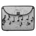 Personalized black and gray musical notes sleeves for MacBooks