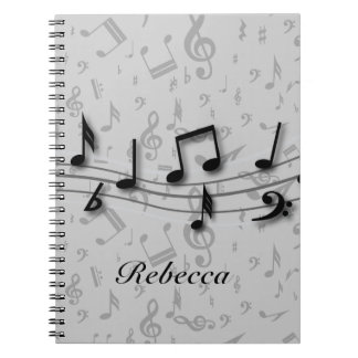 Personalized black and gray musical notes spiral notebook