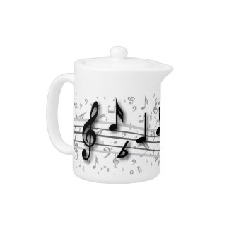Personalized black and gray musical notes teapot