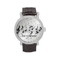 Personalized black and gray musical notes wristwatch