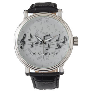 Personalized Black and Gray Musical Notes Wrist Watch