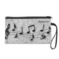 Personalized black and gray musical notes wristlet