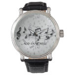 Personalized black and gray musical notes wristwatches