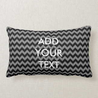 Personalized Black and Grey Chevron Pillow