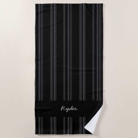 Personalized black and grey pinstriped beach towel