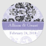 Personalized Black and Lavender Damask Wedding Sea Classic Round Sticker