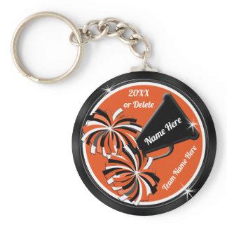 Personalized Black and Orange Cheerleading Gifts Keychain