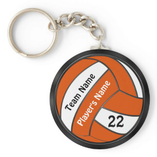 Personalized Black and Orange Volleyball Keychains