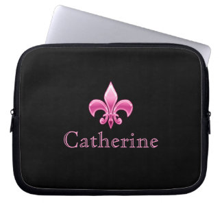 Personalized Black and Pink Fleur De Lis Laptop Sleeve