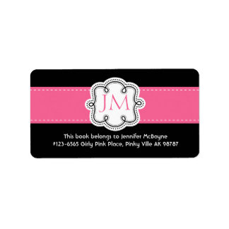 Personalized Black and Pink Ladies  Bookplate Address Label
