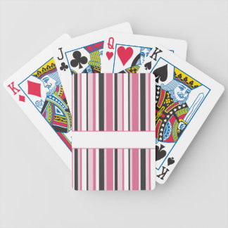 Personalized Black And Pink Stripes Bicycle Playing Cards