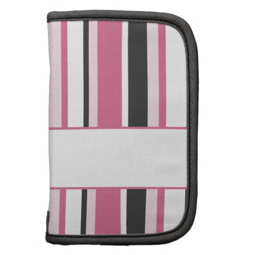 Personalized Black And Pink Stripes Folio Planner