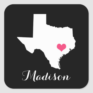 Personalized Black and Pink Texas Home State Square Sticker
