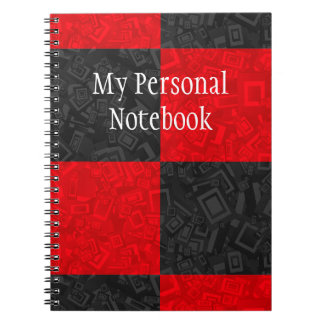Personalized Black and Red Checker Design Notebook