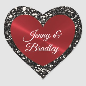 Personalized Black and Red Faux Glitter Sticker
