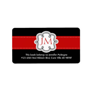 Personalized Black and Red Ladies Bookplate Address Label