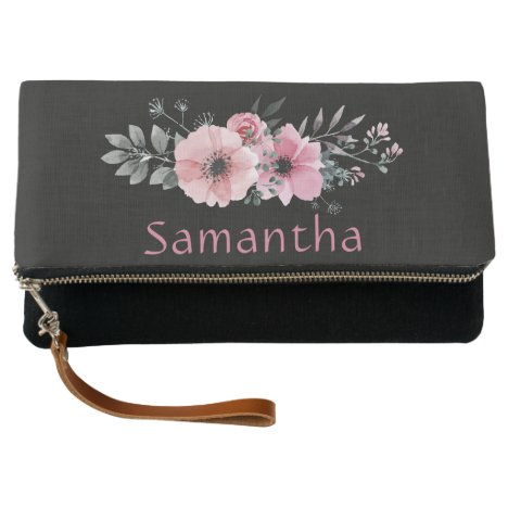 Personalized Black and Rose Pink Floral Watercolor Clutch