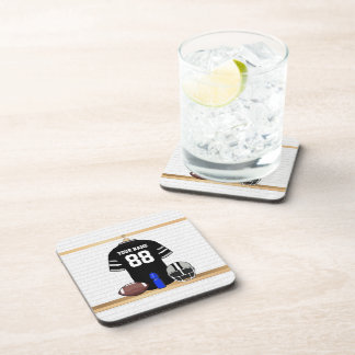 Personalized Black and Silver Gray Football Jersey Coaster