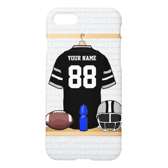 Personalized Black and Silver Gray Football Jersey iPhone 7 Case