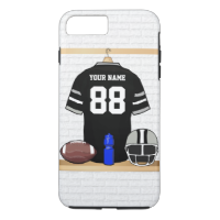 Personalized Black and Silver Gray Football Jersey iPhone 7 Plus Case