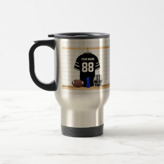 Personalized Black and Silver Gray Football Jersey Travel Mug