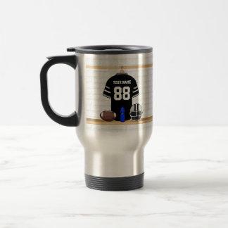 Personalized Black and Silver Gray Football Jersey Travel Mug