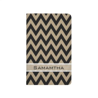 Personalized Black And Tan Chevron Stripes