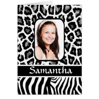 Personalized black and white animal print card