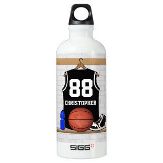 Personalized Black and White Basketball Jersey Aluminum Water Bottle