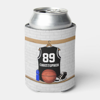 Personalized Black and White Basketball Jersey Can Cooler
