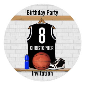 Personalized Black and White Basketball Jersey Card