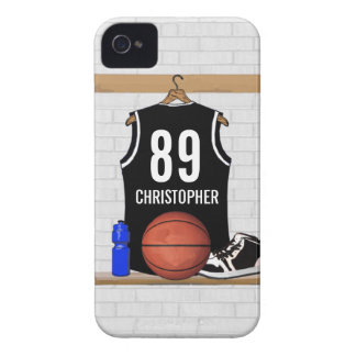Personalized Black and White Basketball Jersey iPhone 4 Covers