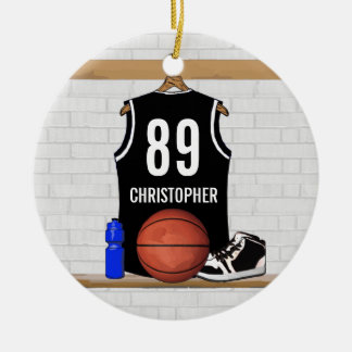 Personalized Black and White Basketball Jersey Ceramic Ornament