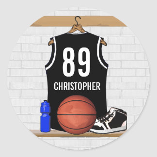 Personalized Black and White Basketball Jersey Classic Round Sticker