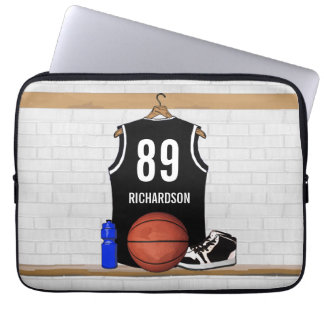 Personalized Black and White Basketball Jersey Computer Sleeve