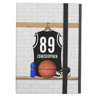 Personalized Black and White Basketball Jersey Cover For iPad Air